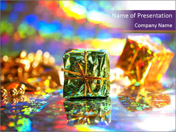 Multi-colored Christmas balls PowerPoint Template - Slide 1
