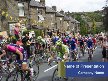 The peloton riding up PowerPoint Template