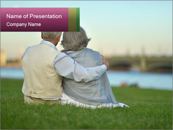 Couple looking at town PowerPoint Template - Slide 1