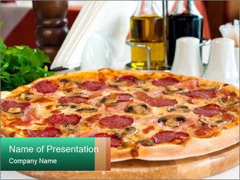Pizza with salami PowerPoint Template - Slide 1