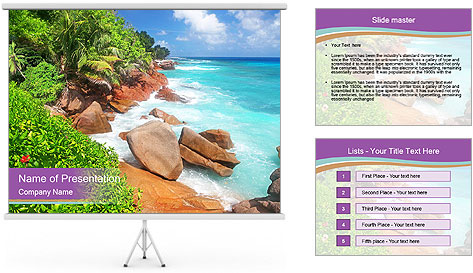 Palms fringe a stunning Beach PowerPoint Template