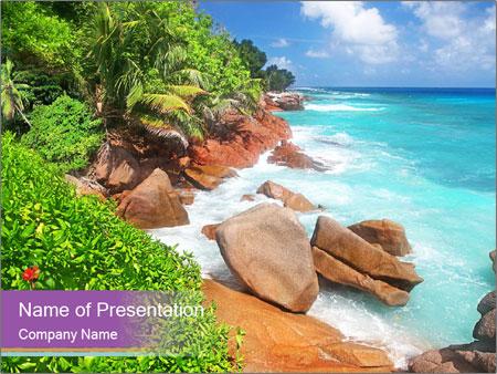 Palms fringe a stunning Beach PowerPoint Template