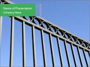 Decorative black wrought iron fence PowerPoint Template