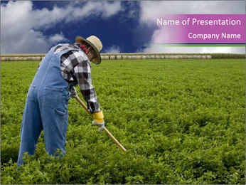 Farmer cultivating PowerPoint Template