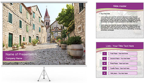 Street in the downtown PowerPoint Template