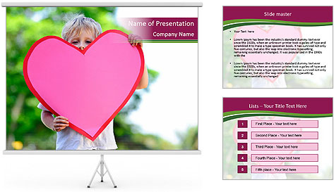 Young child holds PowerPoint Template