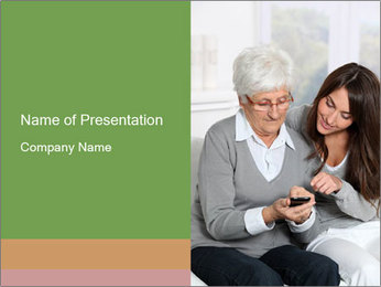 Young woman showing PowerPoint Template