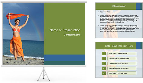 Woman in orange bikini PowerPoint Template