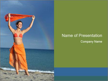 Woman in orange bikini PowerPoint Templates