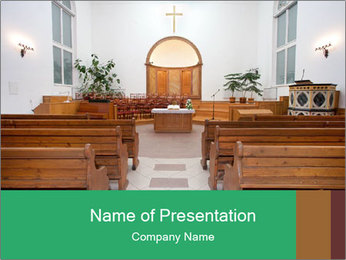 Interior of church PowerPoint Template - Slide 1