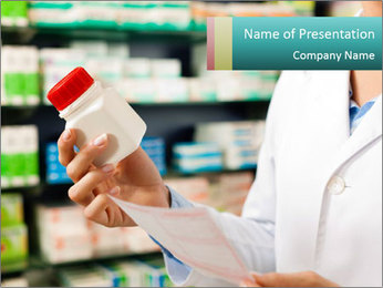 Female pharmacist PowerPoint Template - Slide 1