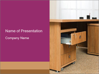 Wooden desk PowerPoint Template