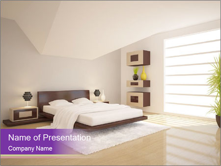 White modern bedroom PowerPoint Templates