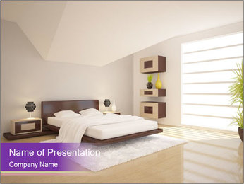 White modern bedroom PowerPoint Template