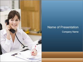 Portrait of a young businesswoman PowerPoint Template - Slide 1