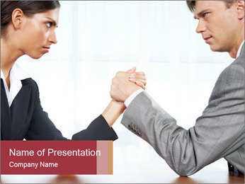 Portrait of business competitors PowerPoint Template
