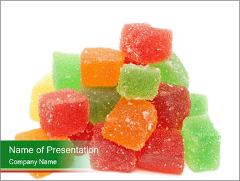 Jelly fruit candies on white backrgound PowerPoint Template