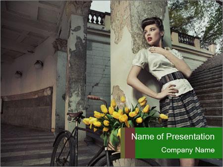 Beauty brunette PowerPoint Template