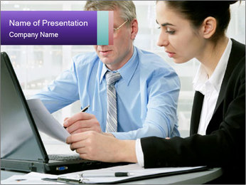 Business people at the office PowerPoint Template - Slide 1
