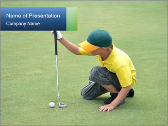 Boy lining up PowerPoint Template