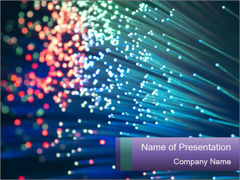 Bunch of optical fibres PowerPoint Template