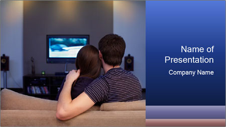 Young couple waching tv PowerPoint Template