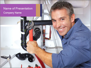 Handsome Plumber PowerPoint Template - Slide 1
