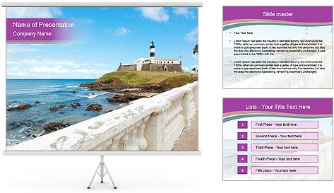 Lighthouse On Coastline PowerPoint Template