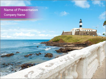 Lighthouse On Coastline PowerPoint Template