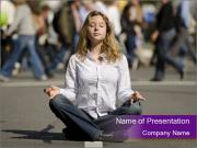 Woman Meditating In Crowd PowerPoint Templates