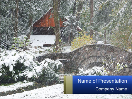Wooden House In Winter Forest PowerPoint Template