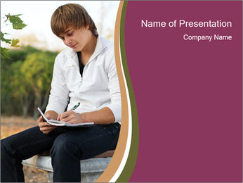 Young Man Writes Letter PowerPoint Template - Slide 1