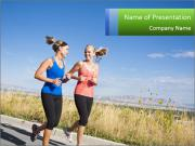 Two Women Jogging Together PowerPoint Template