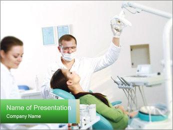 Woman Examines Her Teeth PowerPoint Template - Slide 1