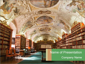 Antique Library PowerPoint Template - Slide 1