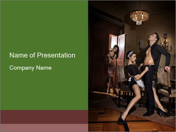 Man And Sensual Chambermaid PowerPoint Template