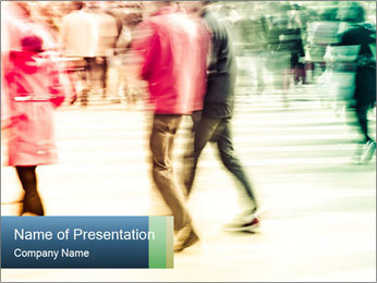 Many People In Motion PowerPoint Template - Slide 1