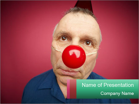 Man With Red Clown Nose PowerPoint Templates