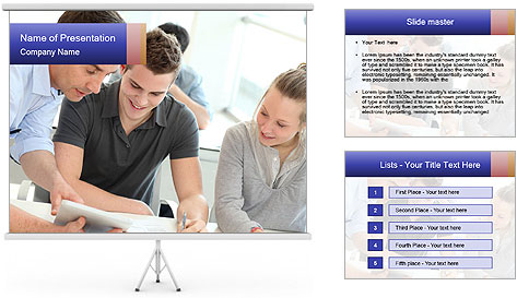 Trainees At Work PowerPoint Template