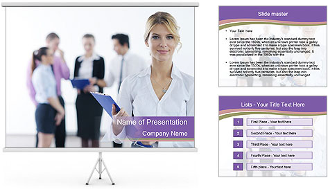 Woman With Colleagues PowerPoint Template