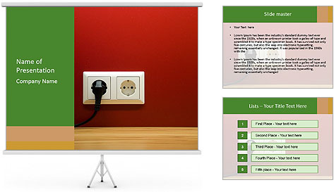 Red Wall With White Plug PowerPoint Template