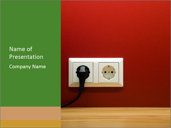 Red Wall With White Plug PowerPoint Template - Slide 1