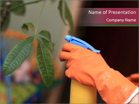 Man Spraying Plants PowerPoint Template