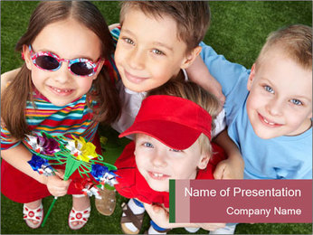 Funny Small Kids PowerPoint Template - Slide 1