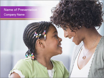 African American mother and daughter smiling PowerPoint Template - Slide 1