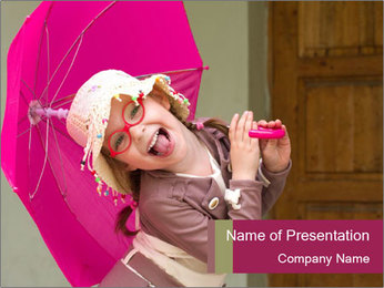 Girl With Pink Umbrella PowerPoint Template - Slide 1