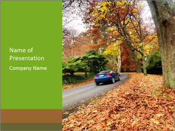 Car In Autumn Countryside PowerPoint Template