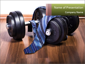 Two Barbells And Blue Tie PowerPoint Template