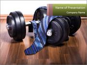Two Barbells And Blue Tie PowerPoint Templates