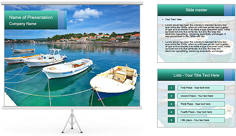 Boats In Croatian Coast PowerPoint Template